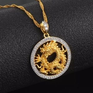Dragon necklace, 18k gold plated, game of thrones